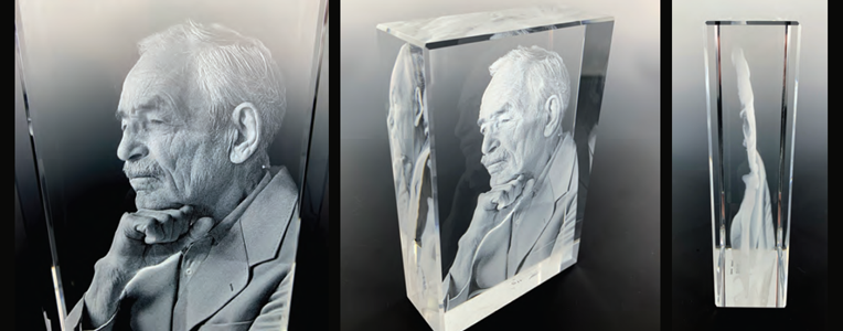 3D etching from a photo - old man in crystal