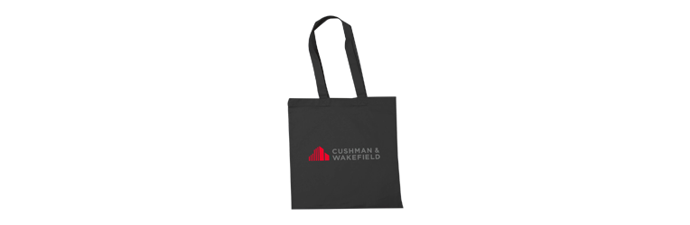 Black canvas bag with company logo on front